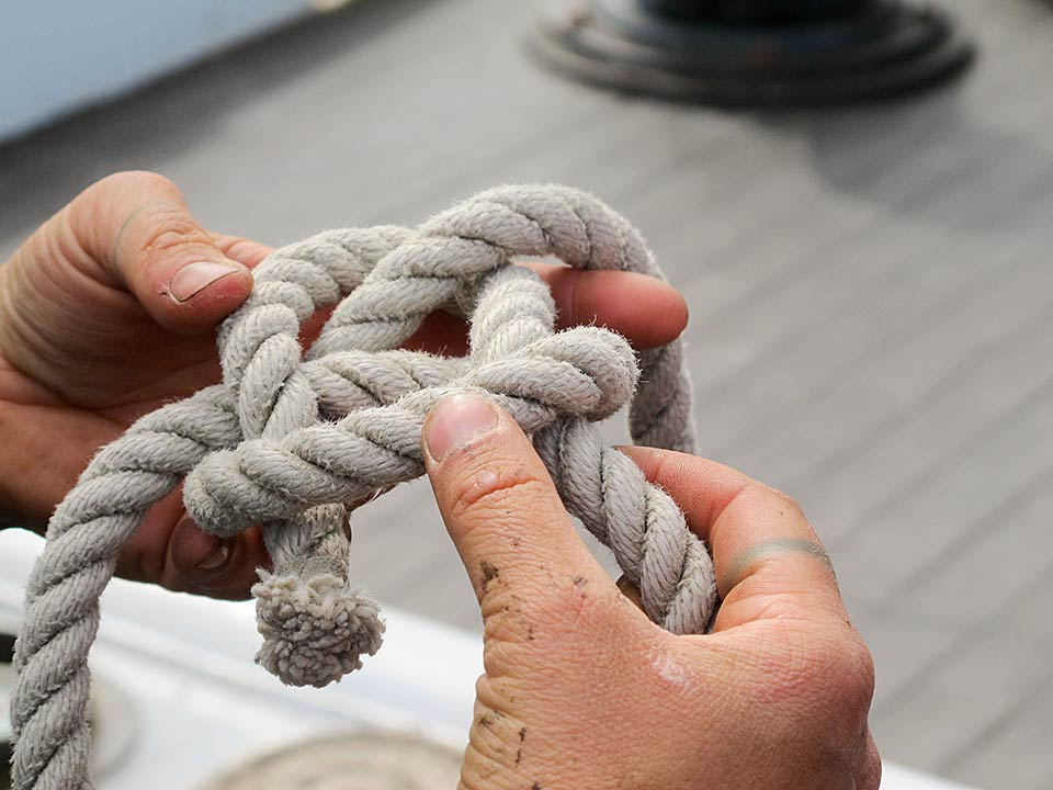 Bowline knot for or Oyster Restoration Station